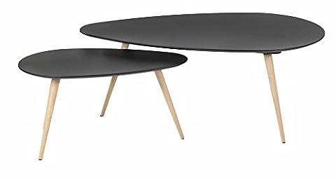 Tables basses gigognes chêne et laqué noir 116 cm Scandie-Tables basses gigognes chêne et laqué (Casa Occasional Table Set)