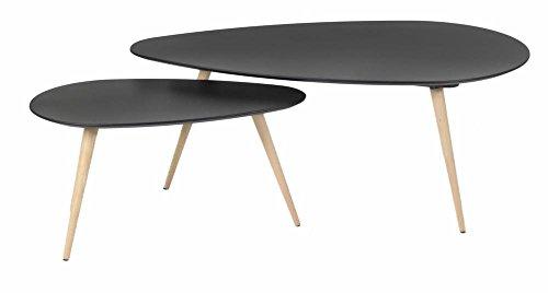 Tables basses gigognes chêne et laqué noir 116 cm Scandie-Tables basses gigognes chêne et laqué noir 116 cm Scandie