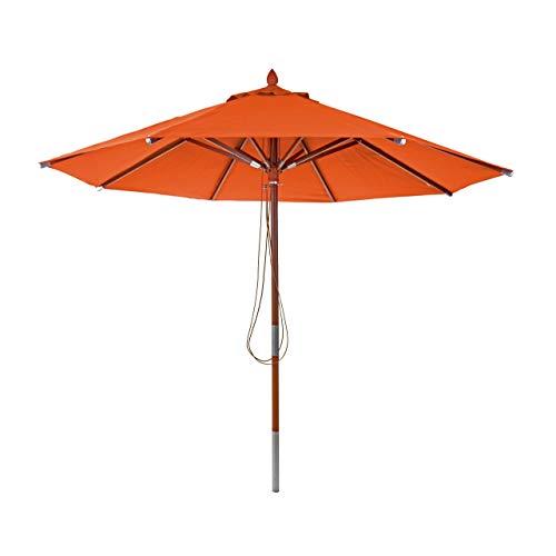 Mendler Holz-Sonnenschirm HWC-C57, Gartenschirm Marktschirm, Polyester/Holz 14kg, rund Ø3m mit Seilzug stoßsicher ~ Terracotta