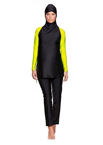 2 tlg. Muslimischer Vollkörper Schwangerschafts-Badeanzug Burkini / Hamile / Islamische Umstands-Badebekleidung Tesettür mit Hijab f5445 Farbe: Schwarz/Gelb BU3(sw-ge), Gr. 38 (M)