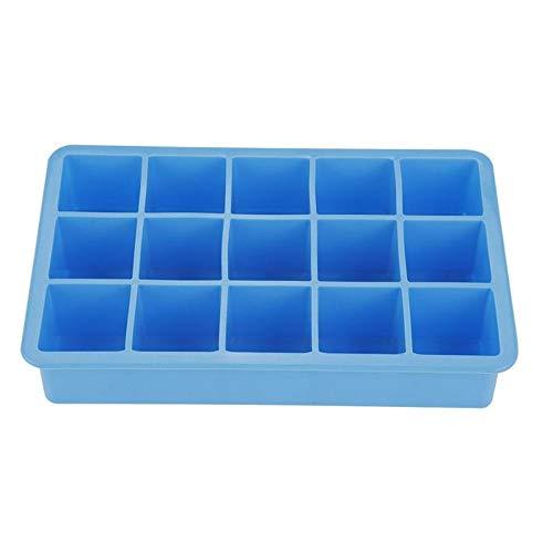 Silikon-Eiswürfelform mit 15 Rastern, quadratisch, mit umweltfreundlichem Eiswürfelform, Obststiel, für Wein, Küche, Bar, Trinkzubehör Einheitsgröße blau