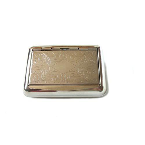 Scopri offerta per Tabacchiera / Portatabacco in metallo con porta cartine e coperchio inciso