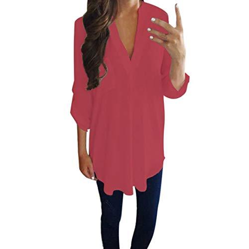 Riou-Damen Tops Langearmshirt Hemd Solid Chiffon Longsleeve T Shirt Frauena Tops Elegant Lösen Oberteile beiläufigen Pullover Sweatshirt Plissee Baumwoll Blusen Herbst (5XL, Rot)