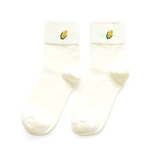 Lamdoo Cute Fruit Print Socken Meias Retro Stickerei Lange Bunte Lustige Socken Weiß
