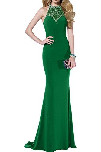 Victory Bridal 2017 Neu Steine U-ausschnitt Figurbetont Meerjungfrau Abendkleider Partykleider Abiballkleider lang Grün
