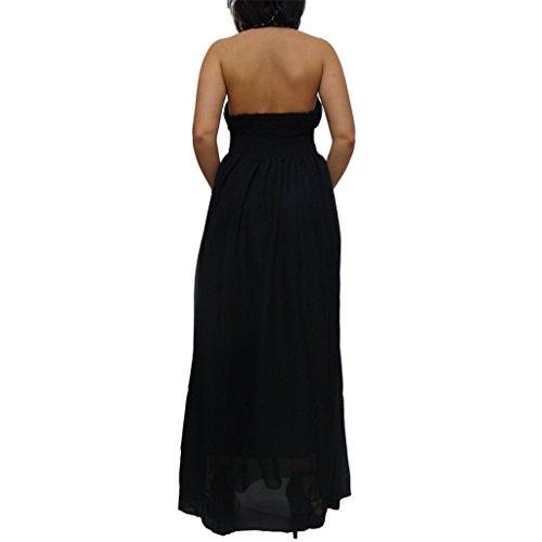 MYWY - Abito donna lungo strass nero vestito sera vestitino party abiti sexy Nero