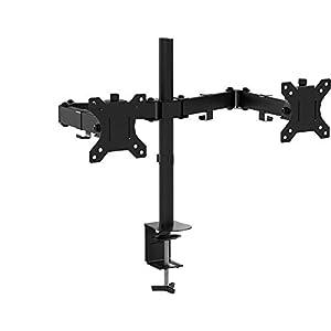 BONTEC 15-32 Zoll Monitor Halterung für 2 Monitore Schwenkbar Neigbar Höhenverstellbar Monitor Schreibtisch Monitorhalterung Tisch Ständer Monitorständer Ergonomische – VESA 75/100 Schwarz