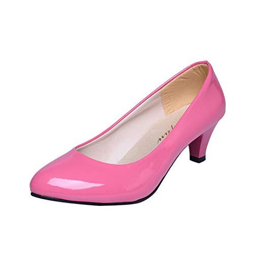 Patent Croc (MakefortuneDamen Womens Wide Fit Memory Foam Patent Formale Beleg auf Kätzchen Ferse Party Office Work Court Schuhe - Größen EU 35-40)
