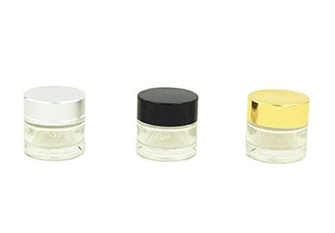 Lot de 410ml (1/3oz) en verre transparent maquillage Crème Pot cosmétique vide rechargeable Récipient Crème Aromathérapie Baume à lèvres de l'échantillon Pot de rangement Bouteille avec bouchon en aluminium