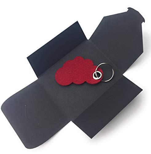 filzschneider Schlüsselanhänger aus Filz - Wolke/Cloud - bordeaux/dunkel-rot/wein-rot - als besonderes Geschenk mit Öse und Schlüsselring - Made-in-Germany Cloud-wein