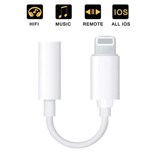 Adattatore per Cuffie per iPhone X Adattatore per Cuffie da 3,5 mm Auricolare per iPhone XS/XS Max 8/8 Plus 7/7 Plus Accessori Cuffie Cavo Splitter Audio Jack Cavo per Adattatore per Supporto iOS 12