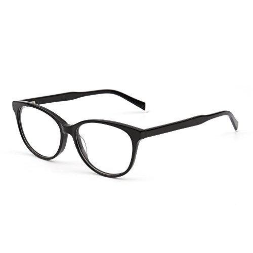 JIM HALO Retro Brille Optischer Rahmen Federscharnier Klar Linse RX-fähig Gläser Damen Herren(Schwarz/Klar)