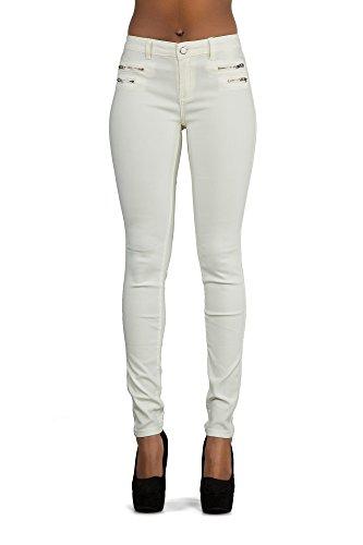 Damen Leder Wet-Look Leggings Größen Eu 36 38 40 42 16 - Baumwolle, Weiß, 5% elasthan 30% polyamid 65% baumwolle, Damen, 40 -
