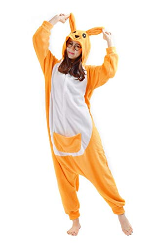 SAMGU Känguru Unisex Adult Tier Onesie Pyjama Kostüm Kigurumi Schlafanzug Erwachsene Tieroutfit Jumpsuit Farbe Gelb Größe L