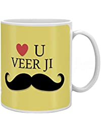 Indigifts Love You Veer Ji Quote Yellow Coffee Mug 330 Ml Rakhi Gifts For Men/Boys