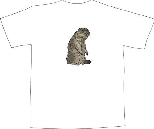 T-Shirt E584 Schönes T-Shirt mit farbigem Brustaufdruck - Logo / Grafik - Comic Design - Portrait von schönem Biber Weiß