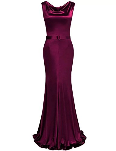 Vickyben Damen Vintage Meerjungfrau Fishtail Ballkleid brautjungfer Kleid  Party kleid Abendkleid Burgundy