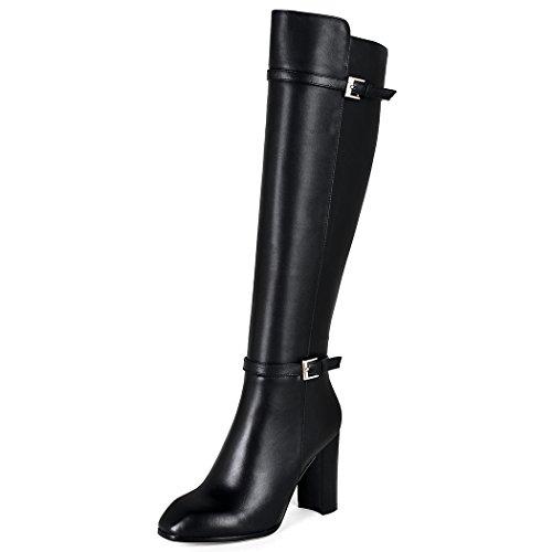 QIN&X Donna ruvida tacco alto alto sopra il ginocchio lunghi stivali scarpe Black
