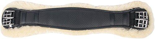 Lammfellsattelgurt Kurzgurt mit Merinofutter ( Lammfell ) schwarz Sattelgurt Dressurgurt mit echtem Lammfell, Länge: 75 cm