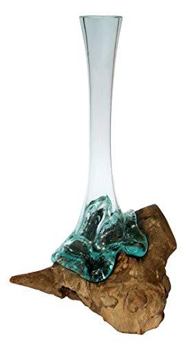 Geschenk schöne 40-45 cm Deko Gamal Wurzelholz Glasvase Teak Wurzel Holz Teakholz Bali Glas Vase XL -