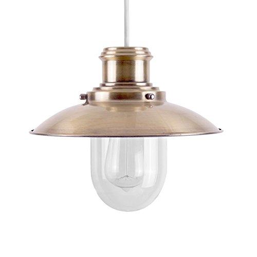 Paralume moderno per lampada a sospensione nello stile fisherman/steam punk e di vetro e metallo colore d'ottone - lanterna antica con montaggio facile - Antico Firmato