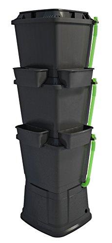 Rainwater Terrace 200 Liter Regentonne, 3 Ebenen, mit 1 Top Pflanzkübel und 4 seitlichen Pflanztöpfen - Schwarz (1 Einheit Top)