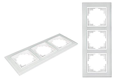 Preisvergleich Produktbild VARIATION Lichtschalter Schalter Taster Wechselschalter Serienschalter Jalousie-Schalter Dimmer Antennen-Dose ISDN ISDN-Steckdose für RJ45 + RJ11 Insatz Innenleben Rahmen aus Plastik und Glas (UNIVERSAL Glasrahmen 3-fach 230x90x10mm WEISS)