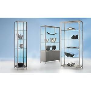 BST LINK Staufachvitrine – Verglasung 4-seitig, mit Unterschrank – HxBxT 1860 x 1500 x 400 mm – Glasschrank Glasschränke…