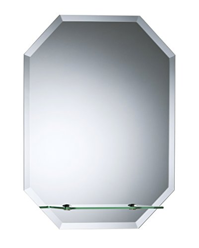 Precioso espejo octogonal de baño con estante