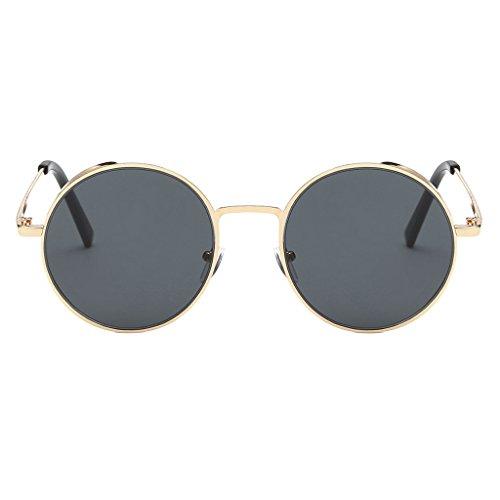 Prettyia Unisex Runde Polarisierte Kreis Sonnenbrille Hippie Vintage Hennen Gläser - Gold-Grau