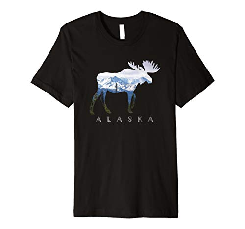 Alaska Day Moose Snowy Mountain T-Shirt - Alaska-kinder-t-shirt