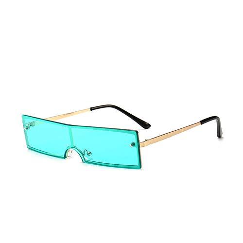 YOURSN Sonnenbrille Frauen Vintage Metallrahmen Kleine Sonnenbrille Weibliche Dünne Rechteckige Cat Eye Sonnenbrille Shades-Green