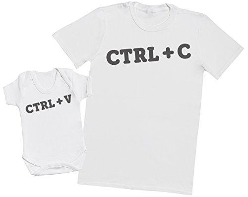 Zarlivia Clothing CTRL C and CTRL V - Passende Vater Baby Geschenkset - Herren T-Shirt & Baby Strampler/Baby Body - M & 3-6 Monate