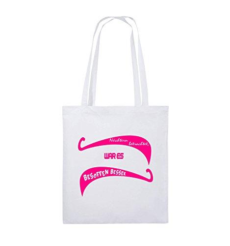 ES Comedy 38x42cm Farbe Pink Henkel Weiss lange Jutebeutel betrachtet BESOFFEN BESSER WAR Nüchtern Schwarz Bags Pink rIqwIaU