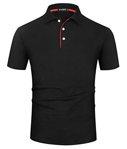 Schwarzes Pique Polo Shirt (Kuson Herren Poloshirt Kurzarm Patchwork Sommer T-Shirt Men's Polo Shirt Baumwolle Schwarz 3XL)