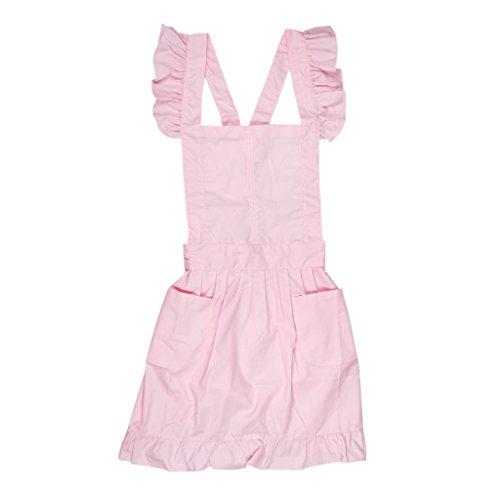 Viktorianischen Stil Damen Kostüm Pinafore Schürze Zofe Spitze Kittel Kräuseln Arbeitskleidung - Rosa -