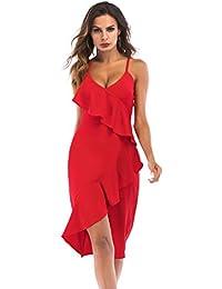 Donna Sexy Fionda Vestito Estate V-Collo Senza Maniche Danza Latina Valzer  Ballo da Sala Tango Ballo di Fine… 944811dc524