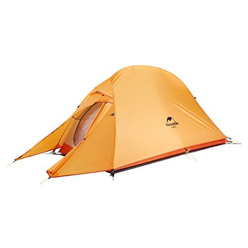 Naturehike Cloud-up Ultraleichte 1 Personen Single Zelt 3-4 Saison Camping Zelt (210T Orange Upgrade) (4-saison-4 Zelt Personen)