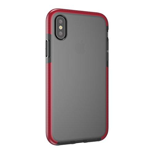 iPhone X Handycover, MOONMINI für iPhone X Transparent Weiche TPU Silikon Cover Hybrid Frame Ultra dünn Premium Bruchsicher Anti-Kratzer Schutzschale Anti-Drop Back Hülle Rosa Dunkelrot