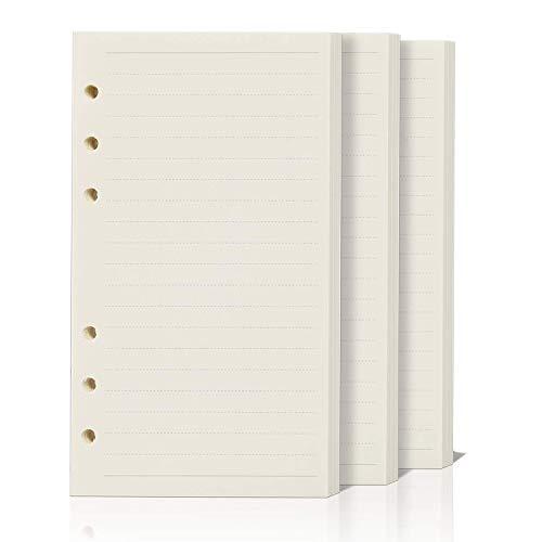 ZKSM 3 Packung Horizontale Linie Papier (insgesamt 135 Blätter) 6 Löcher Nachfüllpapier A5 für Filofax A5, Notizen, DIY, Bullet Journal, Skizze, Malerei, 8,26 x 5,59 Zoll Horizontale Linien