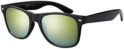 Sonnenbrille La Optica UV 400 CAT 3 Damen Herren Nerd - Einzelpack Glänzend Schwarz (Gläser: Gelb Verspiegelt)