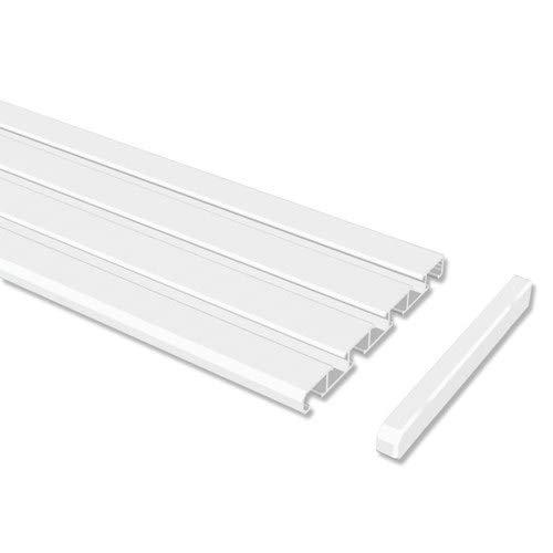 INTERDECO Gardinenschienen Weiß 3-/4-läufige Vorhangschienen aus Aluminium, Slimline, 220 cm