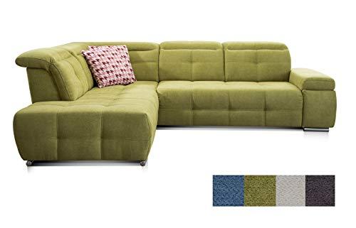 CAVADORE Ecksofa Mistrel mit Ottomanen links / Große Eck-Couch im modernen Design / Inkl. verstellbare Kopfteile / 269 x 77 x 228 / Grün