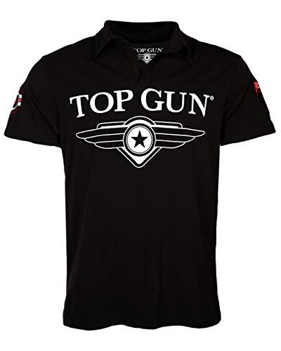 Alpha Baumwolle Polo-shirt (Top Gun Herren T-Shirt Moon, Polo- Shirt für Männer mit offenem Kragen, Logo-Print und Patches (XXL, Schwarz))