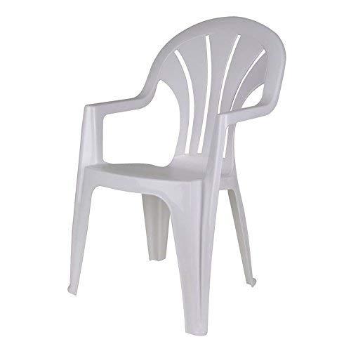 Robuster Monoblock - weiß - Gartenstuhl stapelbar - Gartenmöbel Kunststoff Stuhl