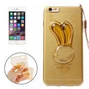 Alcoa Prime Rabbit Pattern TPU Protective Case with Lanyard and Holder for iPhone 6 Plus(Gold)