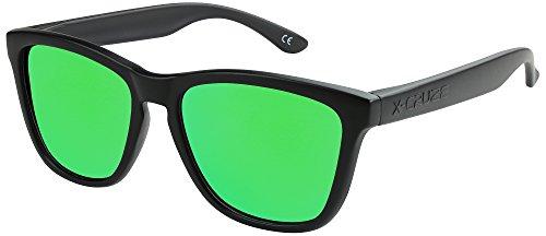X-CRUZE® 9-013 X0 Nerd Sonnenbrillen polarisiert Style Stil Retro Vintage Retro Unisex Herren Damen Männer Frauen Brille Nerdbrille - schwarz matt/grün verspiegelt