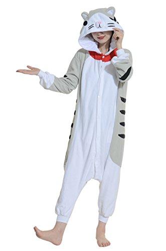 Jumpsuit Fasching Onesie Damen Herren Karneval Cosplay Nachtwäsche Katze (3 Wünsche Paare Halloween-kostüme)