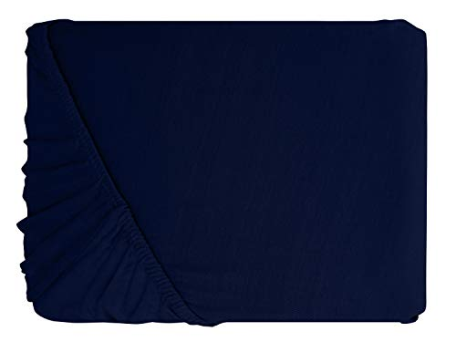 npluseins klassisches Jersey Spannbetttuch – erhältlich in 34 modernen Farben und 6 verschiedenen Größen – 100% Baumwolle, 70 x 140 cm, navyblau - 2