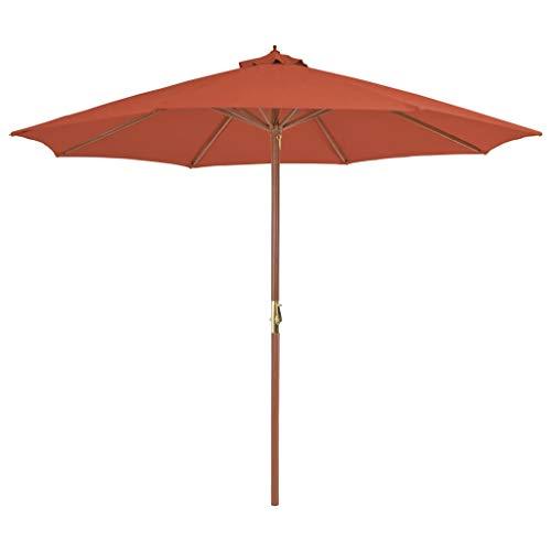 Festnight- Parasol de Jardin Parasol d'extérieur Parasol en Bois pour Patio 300 cm Terre Cuite